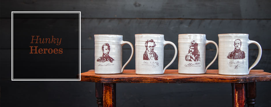 Handmade mugs with simple images of True Texas Heros made in texas