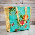 Oilcloth Market Tote- Aqua Rose with Yellow Gingham thumbnail