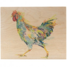 Chicken Watercolor on Wood
