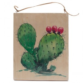 Prickly Pear Watercolor on Wood