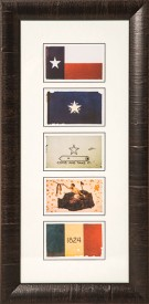 Five Texas Flag Prints, Framed
