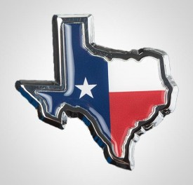 State of Texas w/Flag Auto Emblem