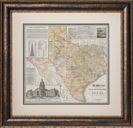 1891 County & Railroad Map, Framed