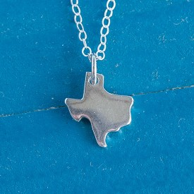 Tiny Silver Texas Necklace