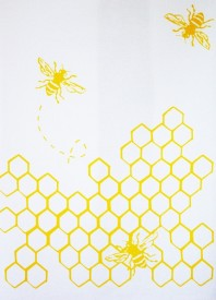 Bees with Honeycomb Tea Towel