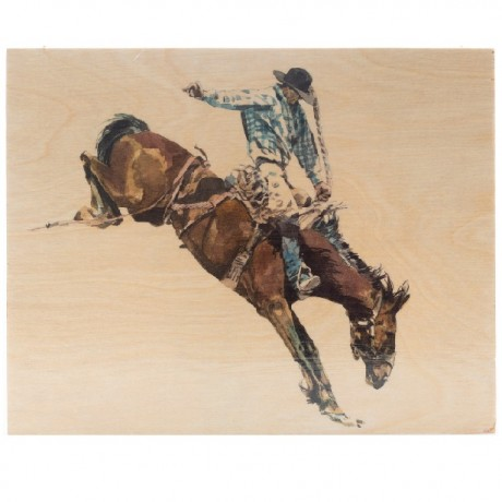 Cowboy Watercolor on Wood