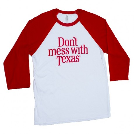 Red Don't mess with Texas Baseball Tee