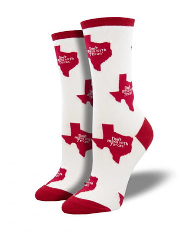Women's Don't mess with Texas State Sock, White