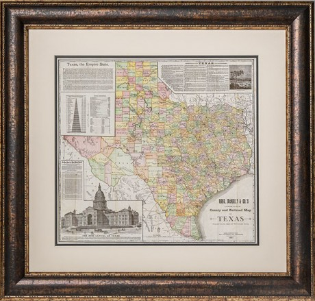 1891 county railroad map framed